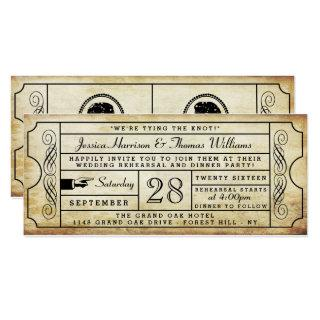 Vintage Ticket Wedding Rehearsal Dinner Invitation
