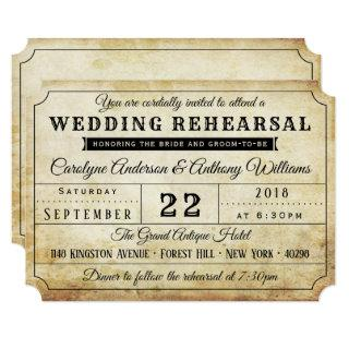 Vintage Ticket Wedding Rehearsal Dinner Invitations