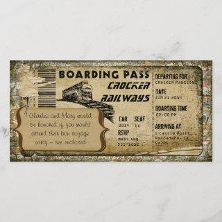 Vintage Train Boarding Pass