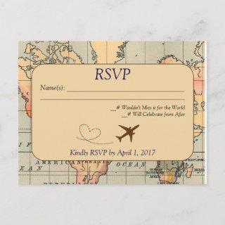 Vintage, Travel Wedding RSVP Postcard
