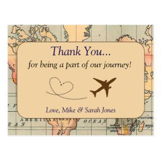 Vintage, Travel Wedding Thank You Postcard