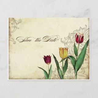 Vintage Tulips Angel Wings Swirl Tea Stained Red Invitation Postcard
