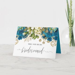 Vintage Turquoise and Gold Shabby be my Bridesmaid Invitations