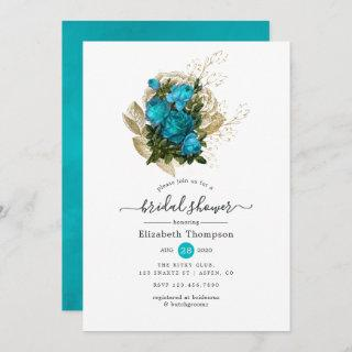 Vintage Turquoise and Gold Shabby Bridal Shower Invitations