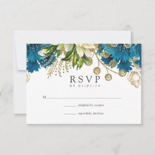 Vintage Turquoise and Gold Shabby Floral Wedding RSVP Card