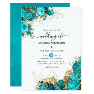 Vintage Turquoise and Gold Shabby Wedding Invitations