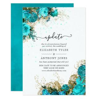 Vintage Turquoise and Gold Shabby Wedding Update Invitations