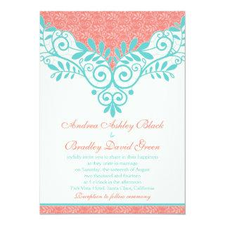 Vintage Turquoise Coral Lace Wedding Invitation