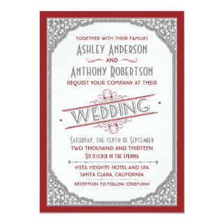 Vintage Typography Cranberry Red Grey Gray Wedding Invitation