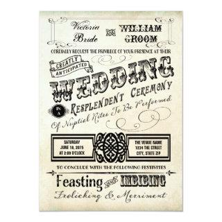 Vintage Typography Wedding Invitations