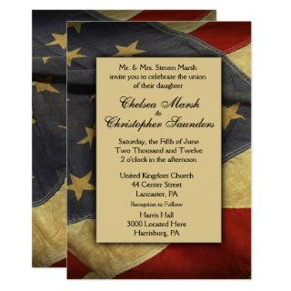 Vintage USA Flag Wedding Invitation