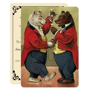 Vintage Victorian Dancing Bears Engagement Party Invitation