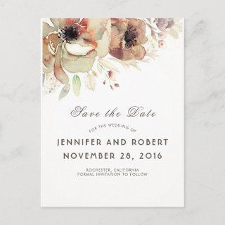 Vintage Watercolor Flowers Fall Save the Date Announcement Postcard