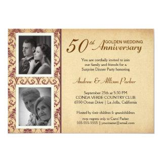 Vintage Wedding Anniversary Invitations - 2 photos