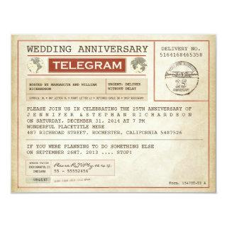 vintage wedding anniversary telegram invitation