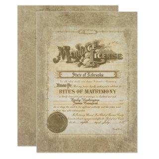 Vintage Wedding Certificate Invitation
