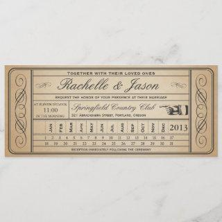 Vintage Wedding Ticket  II  Punchout Invitations