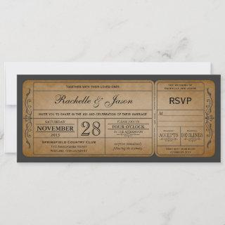 Vintage Wedding Ticket  Invitations with RSVP