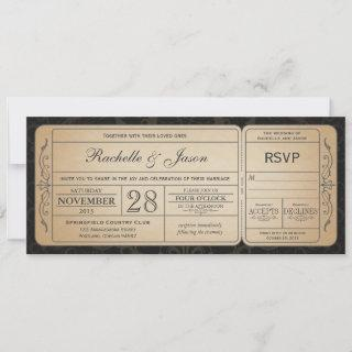 Vintage Wedding Ticket  Invitations with RSVP 2.0