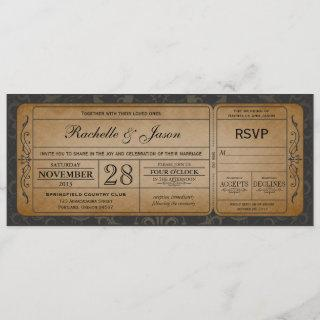 Vintage Wedding Ticket  Invitations with RSVP 3.0