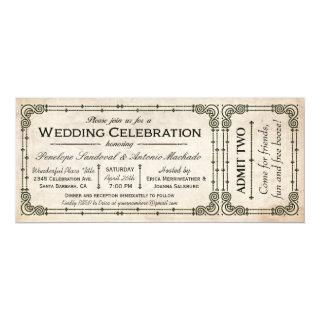 Vintage Wedding Ticket Invitations I
