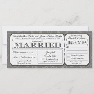 Vintage Wedding Ticket with RSVP collection III