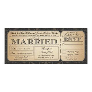 Vintage Wedding Ticket with RSVP collection III Invitations
