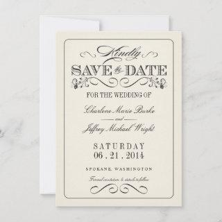 Vintage White Elegant Save the Date WT313