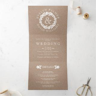 Vintage white rose wreath kraft cardboard wedding Tri-Fold Invitations