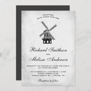 Vintage Windmill Wedding Invitations