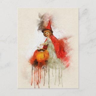 Vintage Witch Watercolor Pumpkin Letters Holiday Postcard
