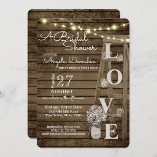 Vintage Wood Ladder Bridal Shower Invitations