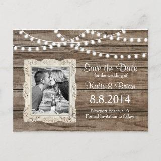 Vintage wood String Lights Save the Date Postcard