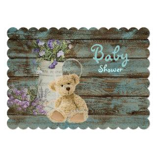 vintage wood teddy bear baby shower invitations