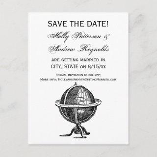 Vintage World Globe Lithograph Drawing BW Announcement Postcard