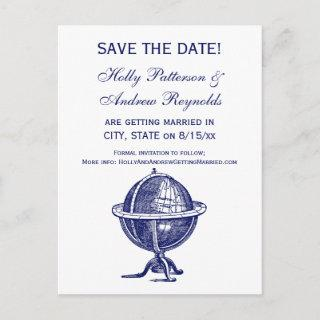 Vintage World Globe Lithograph Drawing Navy Announcement Postcard