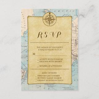 Vintage World Travel Map Wedding RSVP
