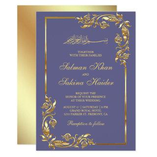 Violet and Gold Floral Border Islamic Wedding Invitation