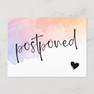 Violet Peach Watercolor Postponed Wedding Announcement Postcard