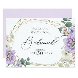 Violet  Peony Flowers Will You Be My Bridesmaid Invitations