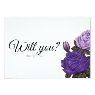 Violet Purple Rosed Will you be my Maid of Honor Invitations