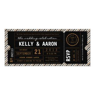 ViP Ticket Wedding Invitations in Black and Brown