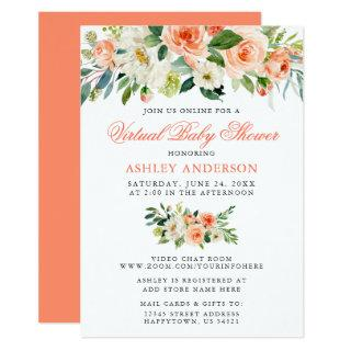 Virtual Baby Shower Watercolor Coral Floral Invitation