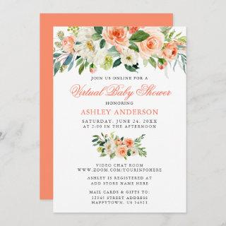 Virtual Baby Shower Watercolor Coral Floral Invitations