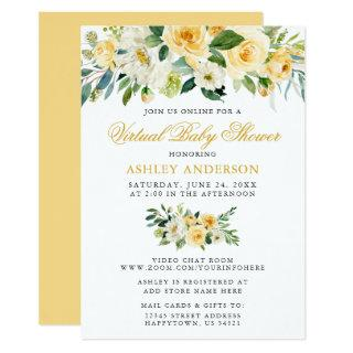 Virtual Baby Shower Watercolor Yellow Floral Invitations