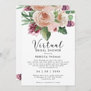 virtual shower by mail floral bridal shower Invitations