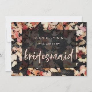 Vivid Foliage | Fall Wood Bridesmaid Proposal Card
