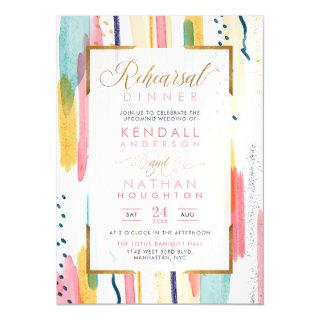 Vivid Yellow Painted Memphis Chic Rehearsal Dinner Magnetic Invitations