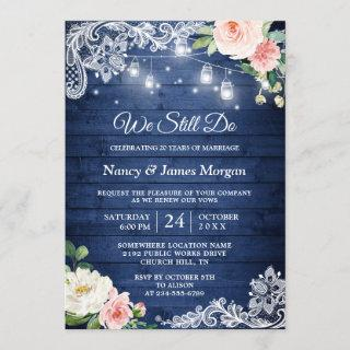 Vow Renewal Rustic Blue String Lights Lace Floral Invitations