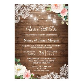 Vow Renewal Rustic Mason Jar Lights Lace Floral Invitations